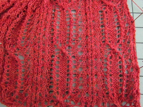 Red lace on needles