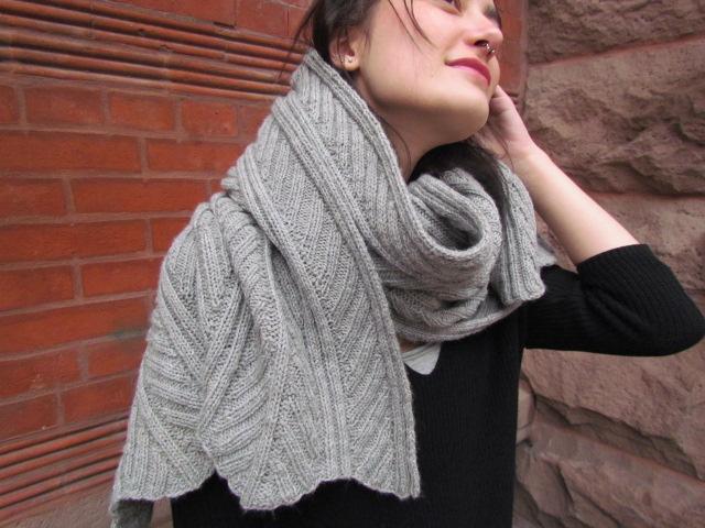 Fossil leaf wrap scarf 008