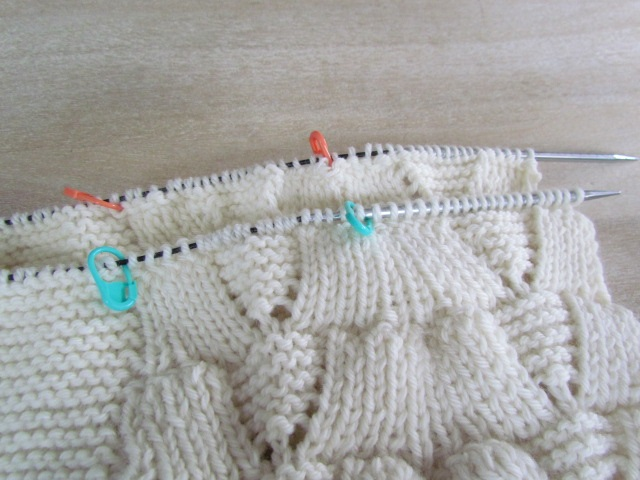 Sanibel baby blanket needle positioned for grafting