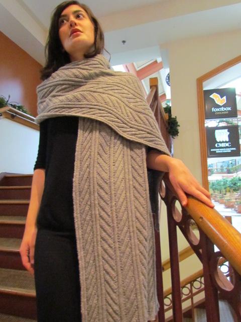 Fossil leaf wrap scarf 019