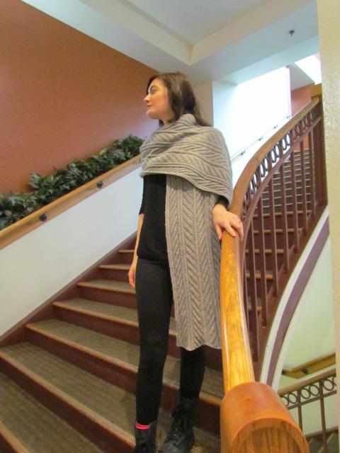 Fossil leaf wrap scarf 018